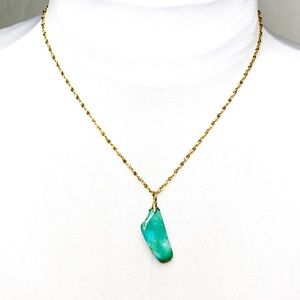 ***Aqua Green Stone Necklace on a Gold Chain